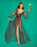 Pin-up and Glamour Art, ART FRAHM (American, 1906-1981). Pin-Up with a Candle. Oilon canvas. 30 x 24 in.. Signed lower right. ...