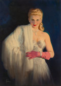 Pin-up and Glamour Art, ART FRAHM (American, 1906-1981). Blonde with White Fur. Oilon canvas. 28.25 x 20 in.. Signed lower left. ...