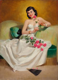 Pin-up and Glamour Art, ART FRAHM (American, 1906-1981). Brunette with Roses. Oil oncanvas. 30 x 22 in.. Signed lower left. ...