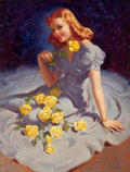 Pin-up and Glamour Art, ART FRAHM (American, 1906-1981). The Yellow Roses. Oil oncanvas. 29 x 22 in.. Signed lower right. ...