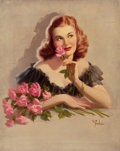 Pin-up and Glamour Art, ART FRAHM (American, 1906-1981). Pink Flowers. Oil oncanvas. 30 x 24 in.. Signed lower right. ...
