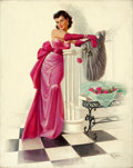 Pin-up and Glamour Art, ART FRAHM (American, 1906-1981). The Pink Dress. Oil oncanvas. 30 x 24 in.. Signed lower right. ...