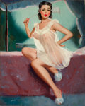 Pin-up and Glamour Art, PETER DARRO (American, b. 1917). Pin-Up in a Negligee. Oilon canvas. 30 x 24 in.. Signed lower left. ...