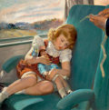 Mainstream Illustration, ROY FREDERICK SPRETER (American, 1899-1967). Asleep on aTrain. Oil on canvas. 24 x 24 in.. Signed lower left. ...