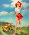 Pin-up and Glamour Art, HARRY EKMAN (American, 1923-1999). Pin-Up with Puppies. Oilon canvas. 30 x 25 in.. Signed lower right. ...