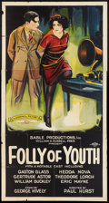 """Movie Posters:Crime, Folly of Youth (Goodwill Picture, 1925). Three Sheet (41"""" X 81""""). Crime.. ..."""