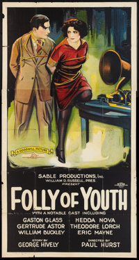 """Folly of Youth (Goodwill Picture, 1925). Three Sheet (41"""" X 81""""). Crime"""