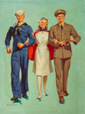 Paintings, HAROLD ANDERSON (American, 1894-1973). The Nurse's Escorts, full-color lithograph/calendar top illustration, c. 1943. Oi...