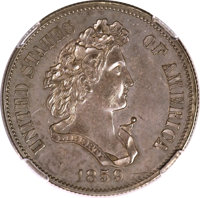 1859 P50C Half Dollar, Judd-239, Pollock-295, R.4--Improperly Cleaned--NCS. Proof AU Details....(PCGS# 11972)