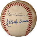 Baseball Collectibles:Balls, Hank and Tommie Aaron Multi Signed Baseball....