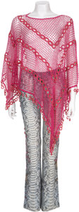 Movie/TV Memorabilia:Costumes, Cher's Shawl and Painted Blue Jeans.... (Total: 2 Items)