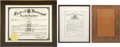 Movie/TV Memorabilia:Memorabilia, Glenn Ford Navy-Related Appointments and Civic Award.... (Total: 2Items)