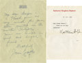 Movie/TV Memorabilia:Autographs and Signed Items, Katharine Hepburn and Joan Crawford Signed Letters. ... (Total: 2 )