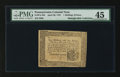 Colonial Notes:Pennsylvania, Pennsylvania April 20, 1781 1s 6d PMG Choice Extremely Fine 45.....