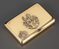 Silver Smalls:Cigarette Cases, A RUSSIAN GOLD CIGARETTE CASE . Gabriel Nuklyanen, St. Petersburg,Russia, 1898-1908. Marks: GN, (56, left facing kokosh...