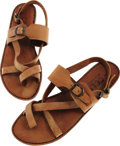 Movie/TV Memorabilia:Costumes, Goldie Hawn's Leather Sandals. Pair of tan leather sandals withcrisscross straps, owned and worn by actress Goldie Hawn. In...