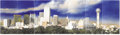 Fine Art - Painting, American:Contemporary   (1950 to present)  , Bob Wade (American, 20th century). . Dallas Skyline . 1980.Oil on enlarged photograph applied with airbrush. Un... (Total: 7Pieces)