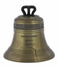 Bronze:American, An American Bronze Liberty Bell Replica. Unknown Maker, USA.Twentieth century. Cast Bronze. Unmarked . 17.5 inches high x...