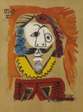 Prints, Pablo Picasso (Spanish, 1881-1973). . Imaginary Portraits (#1 of a series of 29) . 1969. Lithograph. Signed ...