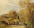 , GORDON C. BARLOW (British Nineteenth Century). English CountryScene. Oil on canvas. 42 x 30-1/2 inches (106.7 x 77.5 cm...