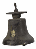 General Americana: , An American Bronze Train Bell. Unknown Maker, USA. Nineteenthcentury. Cast Bronze. Unmarked . 16.5 inches high x 10 inche...
