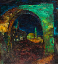 Architectural Ruins in Israel at Night (1960) by William Earl Singer (American, born 1909)