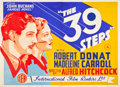 "Movie Posters:Hitchcock, The 39 Steps (International Film Renters, Late 1930s). British Quad(28"" X 39"").. ..."