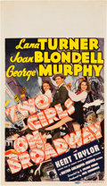 """Movie Posters:Musical, Two Girls on Broadway (MGM, 1940). Midget Window Card (8"""" X 14"""").. ..."""