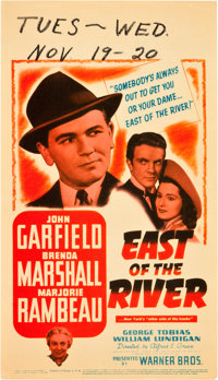 """East of the River (Warner Brothers, 1940). Midget Window Card (8"""" X 14"""")"""