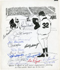 Baseball Collectibles:Others, New York Yankees Multi Signed Print (16 Signatures)....