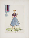 Movie/TV Memorabilia:Original Art, Lucille Ball I Love Lucy Costume Sketch by Elois Jenssen(1954).... (Total: 2 Items)