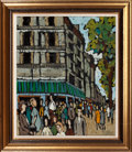 Movie/TV Memorabilia:Original Art, City Street Corner with Pedestrians by Philippe Marchand(French, 20th Century)....