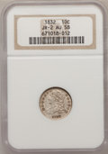 Bust Dimes: , 1832 10C AU58 NGC. JR-2. NGC Census: (38/153). PCGS Population(32/116). Mintage: 522,500. Numismedia Wsl. Price for probl...