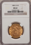Liberty Eagles: , 1885-S $10 MS62 NGC. NGC Census: (205/55). PCGS Population(241/69). Mintage: 228,000. Numismedia Wsl. Price for problem fr...