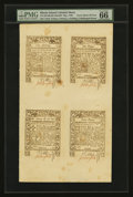 Colonial Notes:Rhode Island, Rhode Island May, 1786 6d, 9d, 1s, 2s6d Uncut Sheet of Four PMG Gem Uncirculated 66 EPQ.. ...