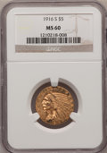 Indian Half Eagles: , 1916-S $5 MS60 NGC. NGC Census: (43/733). PCGS Population (30/666).Mintage: 240,000. Numismedia Wsl. Price for problem fre...