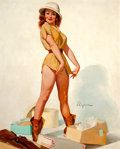 Pin-up and Glamour Art, GIL ELVGREN (American, 1914-1980). Fit to Kill (I'm Fair Gamefor Any Hunt) (I'm Game), 1965. Oil on canvas. 30 x 24 in....