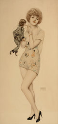 Paintings, ALBERTO VARGAS (American, 1896-1982). Lighting Up, 1927. Mixed media on board. 34 x 16 in.. Signed lower right. ...