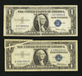 Error Notes:Error Group Lots, Two $1 Silver Certificate Gutter Folds With One Star Note. VeryFine.. ... (Total: 2 notes)