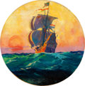 Mainstream Illustration, OLIVER KEMP (American, 1887-1934). Pirate Ship. Oil onboard. 17 in. diameter. Signed lower right. ...