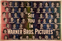 "Warner Brothers Stars of 1949 Promotional Poster (Warner Brothers, 1949). Horizontal Format Poster (60"" X 40"")..."
