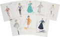 Movie/TV Memorabilia:Original Art, Lucille Ball Related - Edith Head Costume Design Sketches for The Lucy Show Guest Stars.... (Total: 8 Items)