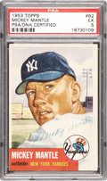 Baseball Cards:Singles (1950-1959), 1953 Topps Mickey Mantle #82 PSA EX 5, Signed....