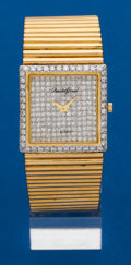 Timepieces:Wristwatch, Bueche Girod, 18k Gold & Diamond Wristwatch. ...