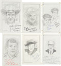 Movie/TV Memorabilia:Autographs and Signed Items, Andy Griffith and Other Signed Sketches of 1960s TV Stars.... (Total: 6 Items)