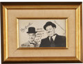 Movie/TV Memorabilia:Autographs and Signed Items, Laurel and Hardy Framed Picture, Signed by Laurel to Lucille Balland Gary Morton....