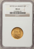 Mexico, Mexico: Republic gold 5 Pesos 1877Zs-S/A,...