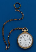 Timepieces:Pocket (post 1900), Hamilton, 992, With Chain, 16 Size, 21 Jewels, 14 k gold filled....