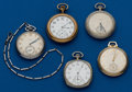 Timepieces:Pocket (post 1900), Hamilton 14k 21 Jewel Grade 921 & Four Non-Gold 12 Size Watches. ... (Total: 5 Items)