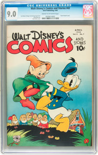 Walt Disney's Comics and Stories #43 (Dell, 1944) CGC VF/NM 9.0 Cream to off-white pages